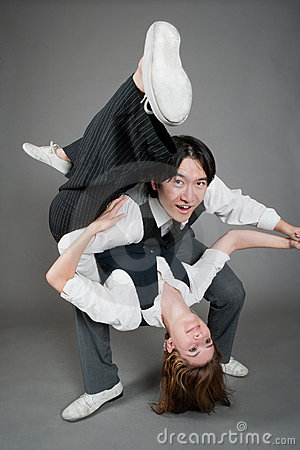 Free Mixed Couple Jazz Dancers Royalty Free Stock Photography - 20967387