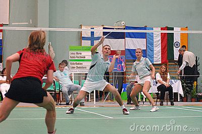 Mixed doubles BADMINTON Editorial Stock Image
