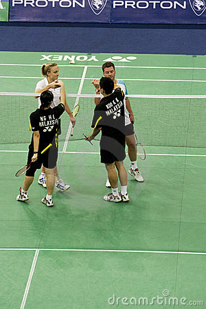 Mixed Doubles Badminton - End of Game Editorial Photography
