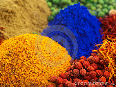 Mixed dyes and spices