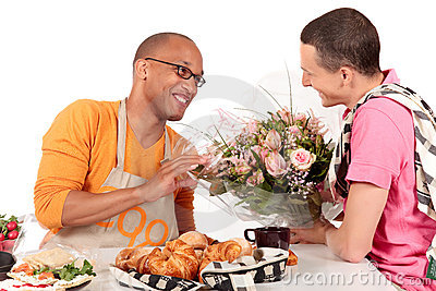 Mixed ethnicity  gay couple Valentine