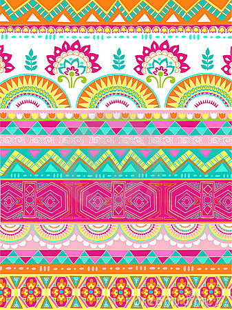 Mixed Folkloric Design Vector Illustration
