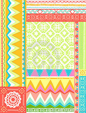 Mixed Folkloric Design Vector Illustration