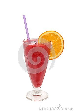 Mixed fruit cocktail with strawberry and orange isolated