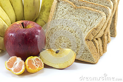 Mixed Fruits and Bread on white background