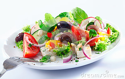 Mixed Greek salad on a plate