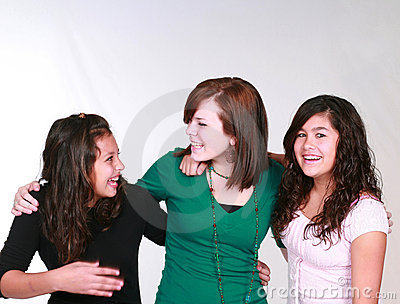 Group Teen Girls Laughing