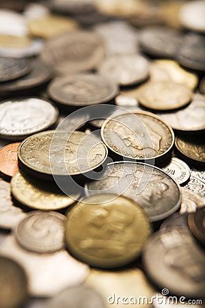 Mixed international coins