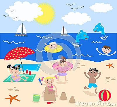 Free Mixed Kids On The Beach Stock Photos - 17469033