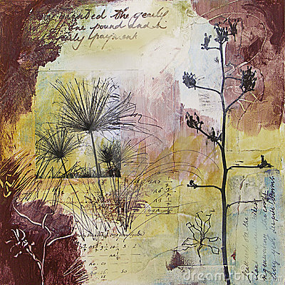 Mixed media abstract painting with seedheads