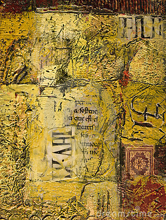 Mixed media abstract painting with text and wax