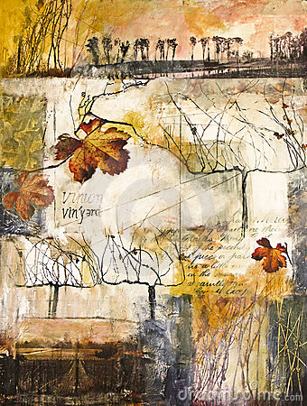 Free Mixed Media Painting With Grape Vines Stock Images - 18792884