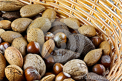 Mixed nuts in basket