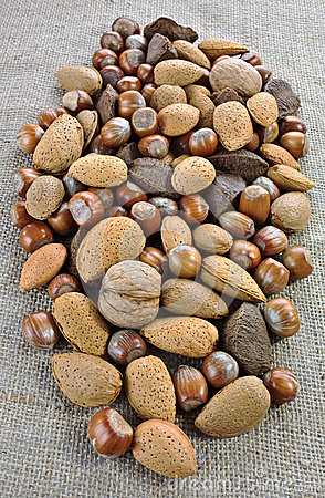 Mixed nuts on jute sack