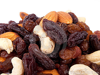 Mixed nuts and raisins