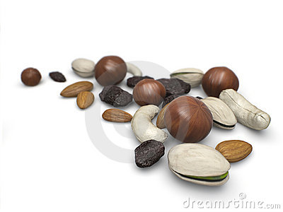 Mixed nuts with raisins.