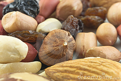 Mixed Nuts and Raisins Closeup