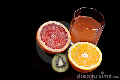 Mixed orange, kiwi and grapefruit juice