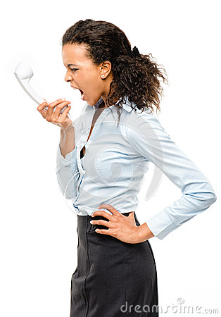Mixed race businesswoman shouting isolated on white background