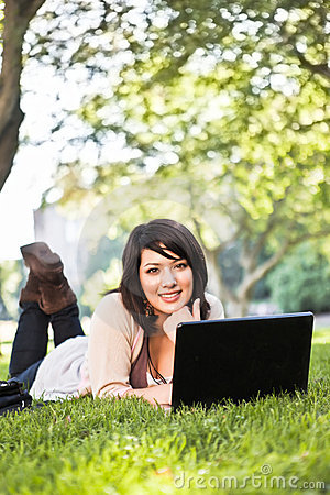 Free Mixed Race College Student With Laptop Stock Photos - 15537923