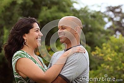 Mixed race couple outside