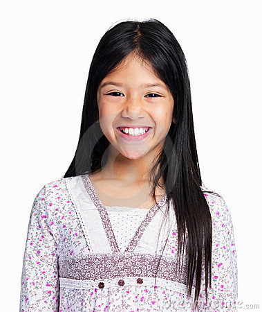 Mixed race girl smiling on white background