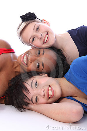 Free Mixed Race Happy Girls Tower Of Smiling Faces Stock Photography - 21437742