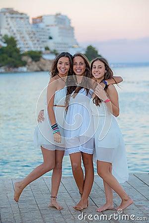 Mixed race teens on summer vacation