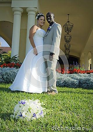 Mixed race wedding couple