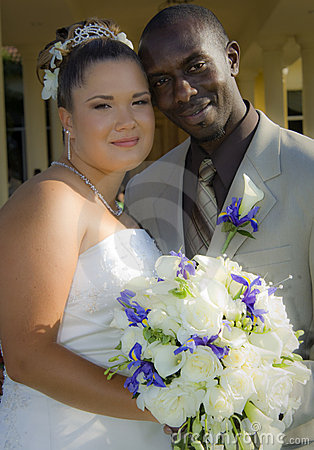 Mixed race wedding couple