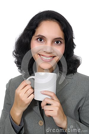 Mixed Race Woman Drink Coffee