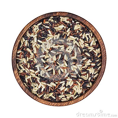 Free Mixed Rice In Wooden Bowl Isolated On White Background. Black, Red, Brown, Basmati Rice Mix. Top View Stock Image - 104690121