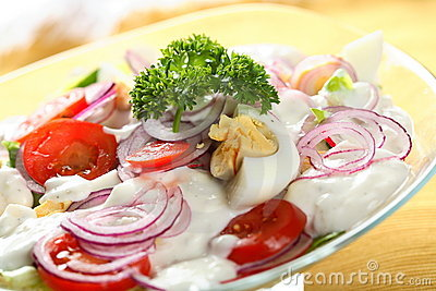 Mixed salad with mayonnaise
