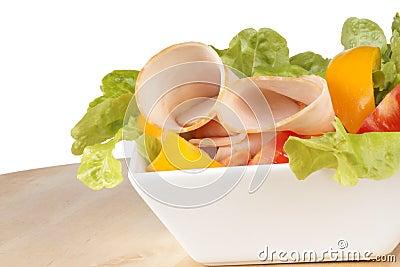 Mixed salad with roast turkey