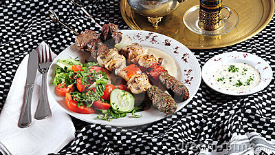 Mixed shish kebab. Middle eastern cuisine