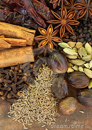 Mixed Spices on a Wood Background