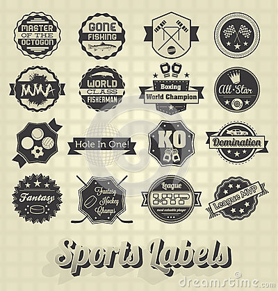 Free Mixed Sports Labels And Icons Royalty Free Stock Photography - 30114547