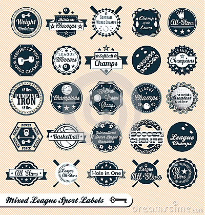 Free Mixed Sports League Labels And Stickers Royalty Free Stock Photography - 27083957
