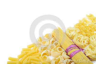 Mixed uncooked raw italian pasta with spaghetti