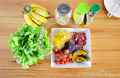 Mixed Vegetable And Fruit Salad. Stock Photo - Image: 51707223