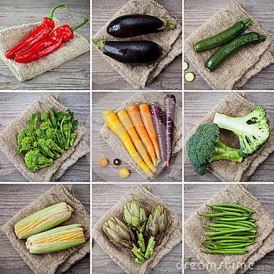 Mixed vegetables collage
