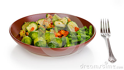 Mixed vegetables on plate
