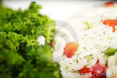 Mixed vegtable rice and broccoli