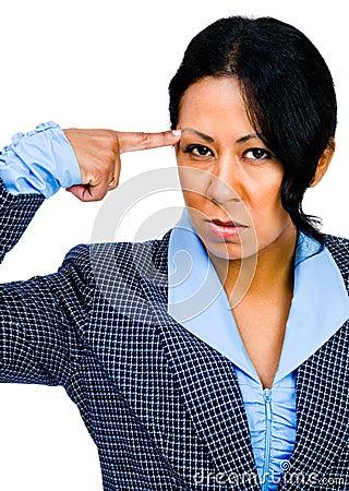 Mixedrace businesswoman suffering