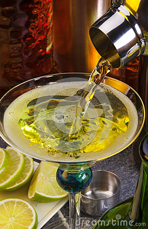 Mixing a cocktail