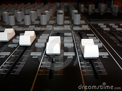 Mixing console - channel volume controls