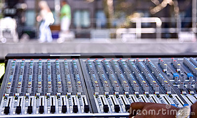 Mixing panel at a concert