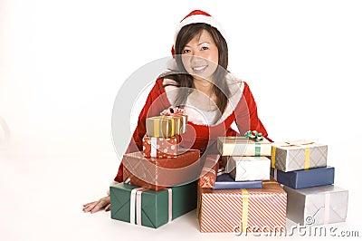 Mlle Santa et présents