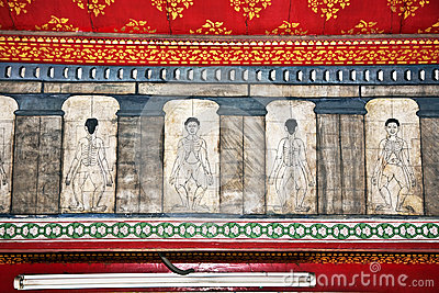 Målningar i templet Wat Pho undervisar