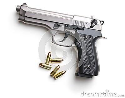 9mm pistol bullets and handgun. Stock Photo